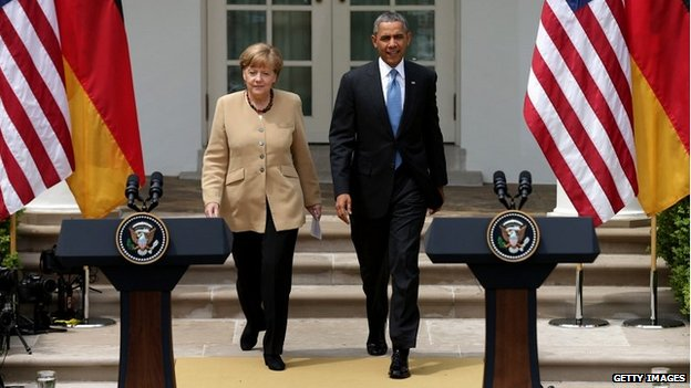 Chancellor Merkel and US President Obama at a joint news conference at the White House - 2 May 2014