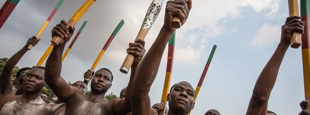 The baton is welcomed in Yaounde, Cameroon