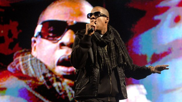 Jay Z performs at Glastonbury in 2008