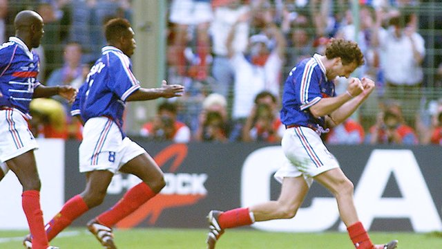 France's Laurent Blanc celebrates after scoring the first ever World Cup golden goal against Paraguay