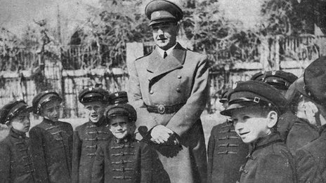 Croatian World War II ruler Ante Pavelic visiting a school circa  1943