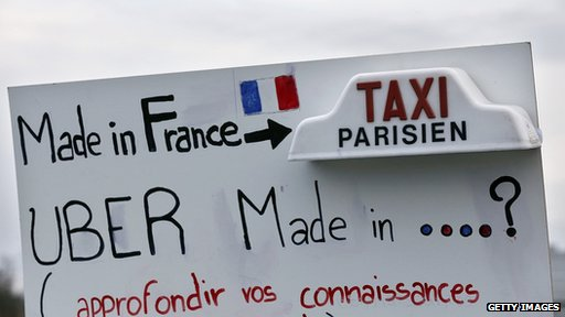 French anti-Uber sign