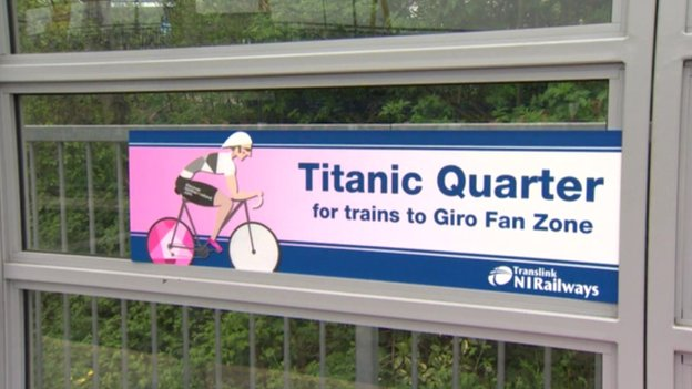 Translink sign for Giro d'Italia spectators
