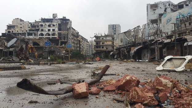 A deserted square in Homs, Syria