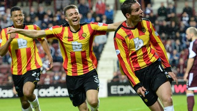 Partick Thistle celebrate after Lee Mair nets the third
