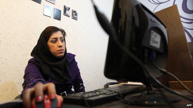 Woman t computer in Iran