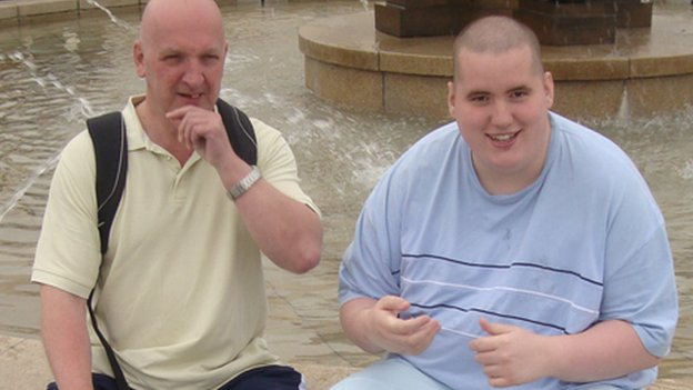 Mark Neary and his son Steven, who has autism