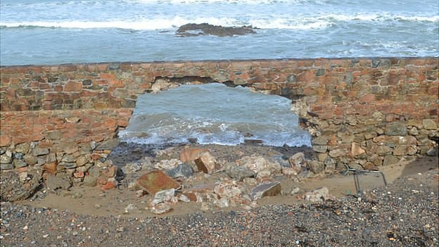 Hole in sea wall at Vazon, Guernsey