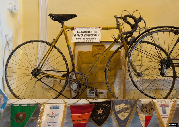 Gino Bartali's bike  in the small cycling museum inside the Madonna del Ghisallo Church Magreglio Lombardy Italy