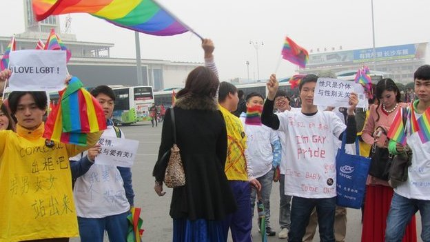 Gay pride event in Hunan province (Photo, courtesy of Xiang Xiaohan)