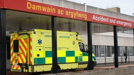 Glan Clwyd Hospital A&E with ambulance outside
