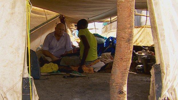 Alastair Leithead with rape survivor in Bentiu, South Sudan (May 2014)