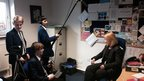 School Reporters at Clitheroe Royal Grammar School start filming for News Day.