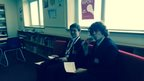 Pupils are beginning to film their news programme openings at St Thomas More High School for Boys.