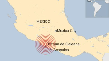 BBC map of earthquake location and Mexico City, Acapulco and Tecpan