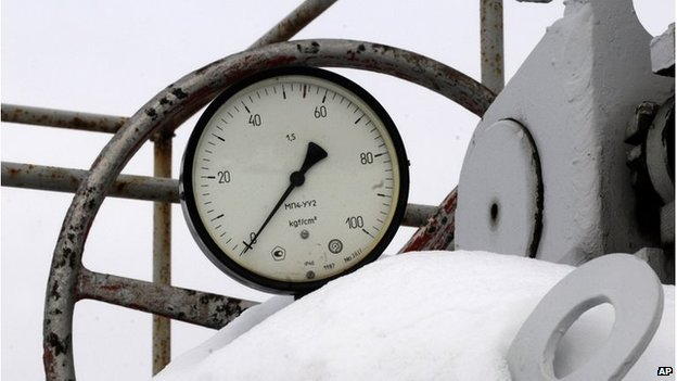 A gas pressure gauge indicating zero seen at a snow-covered transit point on the main pipeline from Russia in the village of Boyarka near the capital Kiev, Ukraine, Saturday, Jan 3, 2009