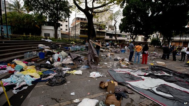 Cleared protest camp in Caracas. 8 May 2014