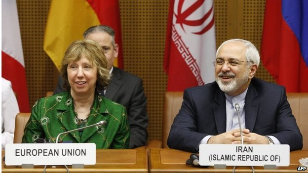 Catherine Ashton (left) and Mohammad Javad Zarif