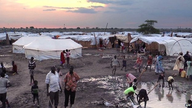A grab made from a video released by the United Nations Mission in South Sudan on 23 April 2014 shows displaced people in a camp in Bentiu