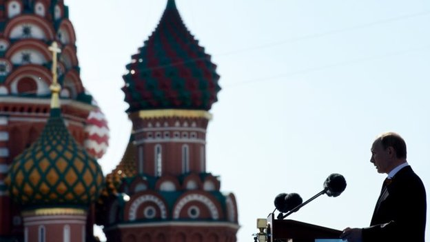 Vladimir Putin speaks at the Red Square in Moscow, on May 9