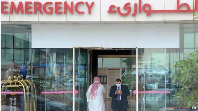 Man wearing face mask leaving hospital in Riyadh (27/04/14)