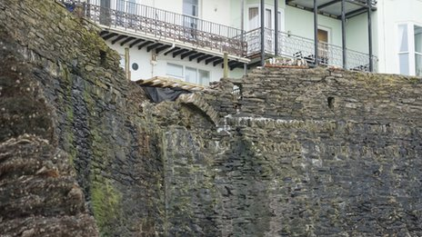 Damaged wall in Ilfracombe