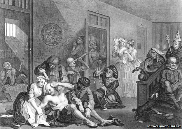"""Bedlam"", an engraving by the English artist William Hogarth (1697-1764), depicting patients on a ward at the Bethlehem Hospital, London"