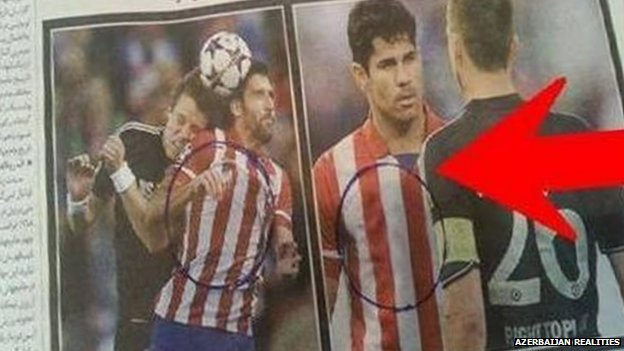 Screenshot of doctored photo of Atletico Madrid footballer with sponsorship logo removed from the shirt