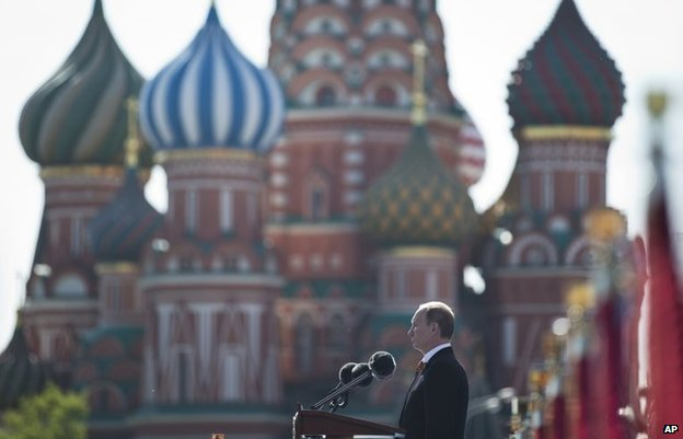 Vladimir Putin speaks during a Victory Day Parade in Moscow, May 9