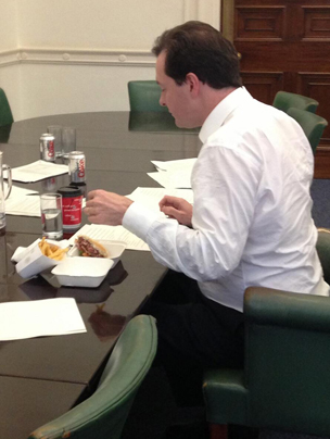 George Osborne eating a burger and chips