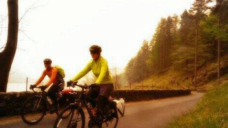 Rob and Angela whizzing past in Lake District