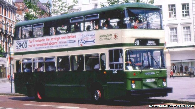 An NCT Green and Cream Bus, in the Old Market Square en-route to West Bridgford