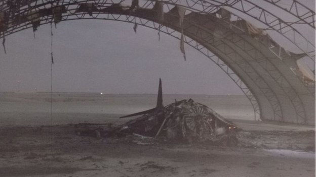 A Harrier aircraft which has been severely damaged