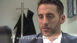 Recruiter reads 'My boss is a xxxxxxx xxxx !!!'