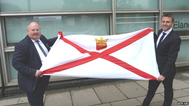 Eric Pickles and Philip Ozouf with Jersey flag