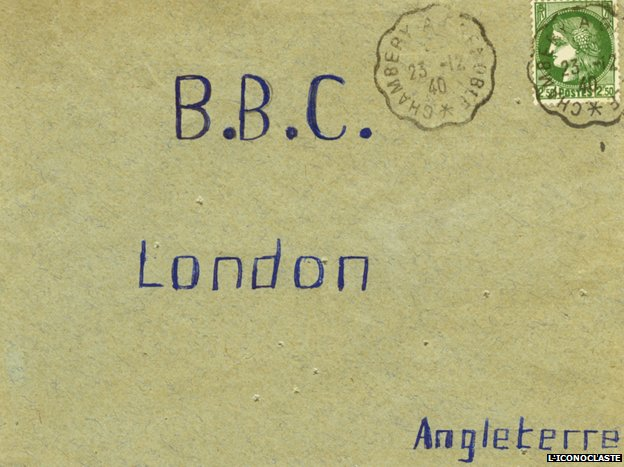 "Letter reads ""BBC, London, Angleterre"""