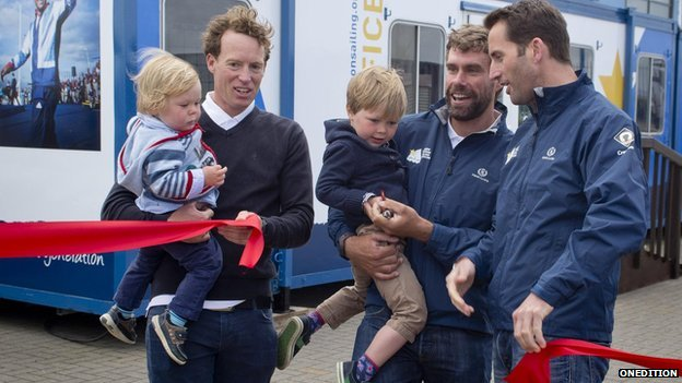 Sir Ben Ainslie, Iain Percy, Paul Goodison and Andrew Simpson's children
