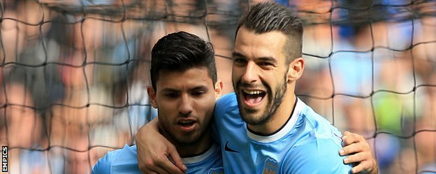 Sergio Aguero and Alvaro Negredo shared 15 goals in City's first 12 league games