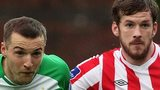 Karl Sheppard of Shamrock Rovers in action against Derry's Ryan McBride.