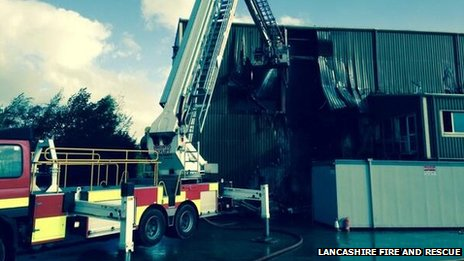 Fire at Burnley recycling building