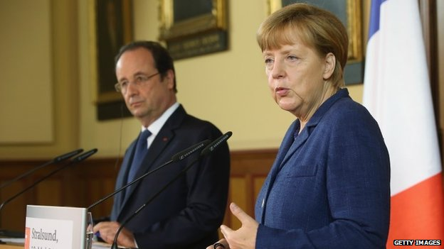 Francois Hollande and Angela Merkel, 10 May 2014