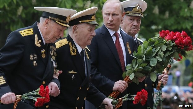 Vladimir Putin at a Victory Day ceremony in Crimea, 9 May 2014
