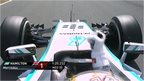 Lewis Hamilton celebrates pole position at the Spanish Grand Prix