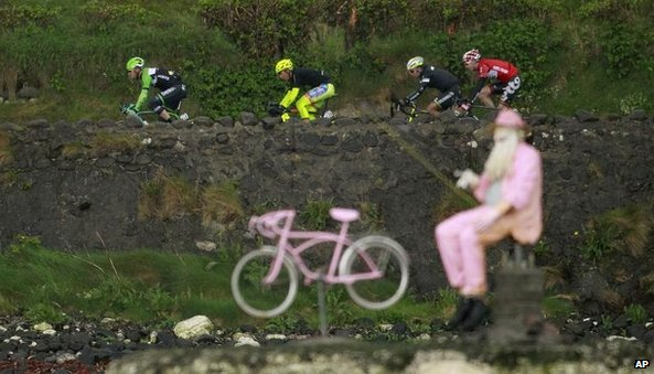 A rider leads a breakaway attack on the north Antrim coast