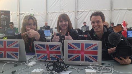 BBC Eurovision reporters Sophie van Brugen, Sarah Jane Griffiths and John Galliver