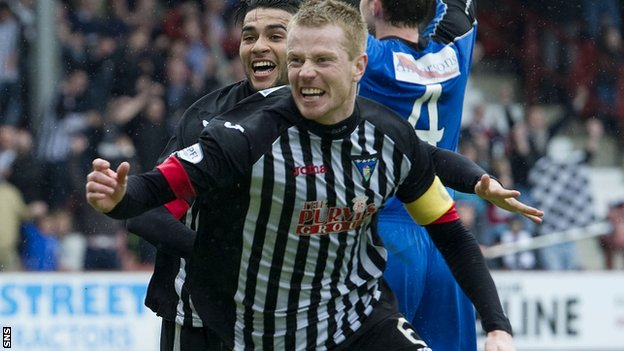 Andy Geggan celebrates after scoring for Dunfermline