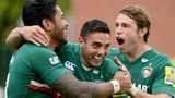Leicester's Manu Tuilagi celebrates his try against Saracens