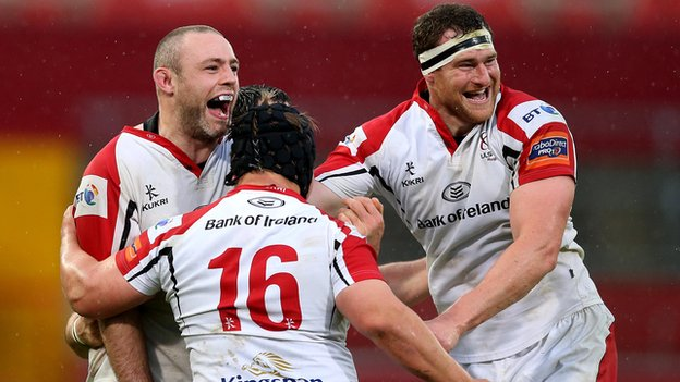 Ulster players Neil McComb, Kyle McCall and Lewis Stevenson celebrate the surprise 19-17 win over Munster at Thomond Park