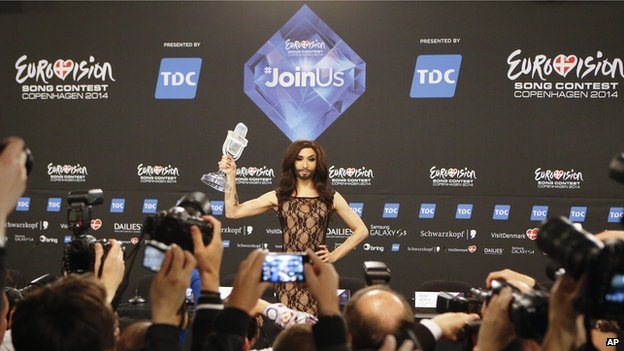 Conchita Wurst holding up her trophy after winning Eurovision 2014