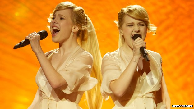 Anastasia and Maria Tolmachevy of Tolmachevy Sisters perform at Eurovision 2014